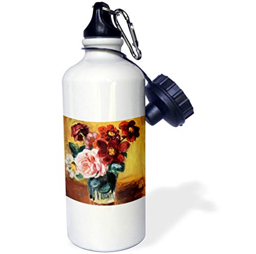 - 3dRose VintageChest - Masterpieces - Renoir - Vase with Anemones and Roses - 21 oz Sports Water Bottle (wb_303062_1)