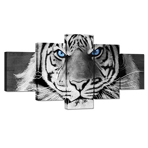 Hello Artwork Large 5 Pieces Animal Canvas Wall Art Tiger Face Blue Eyes Black and White Wildlife Picture Print on Canvas Stretched and Framed for Modern Home Living Room Decoration Ready to Hang