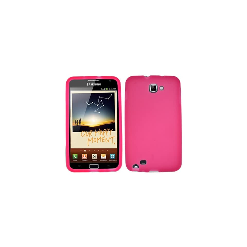iFase Brand Samsung Galaxy Note i717 Cell Phone Solid Hot Pink Silicon Skin Case