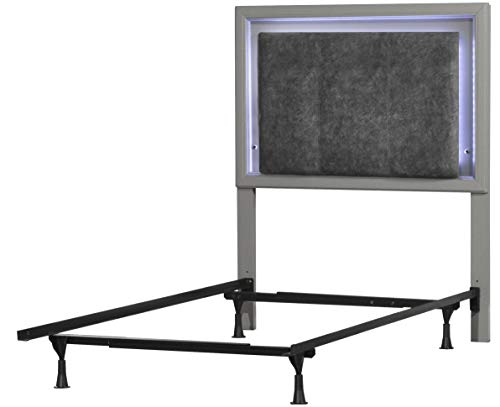 Hillsdale Furniture 7137HTWRN Lyndon Lane Upholstered Panel LED Lighted Headboard with Frame and Nightstand, Twin, Gray (Lyndon Furniture)