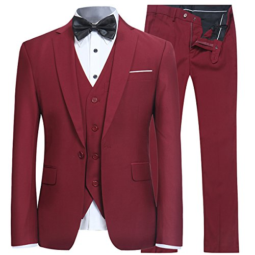 Men's Slim Fit Peak Lapel Suit Blazer Jacket Tux Vest & Trousers 3-piece Suit Set,Red Wine,Large