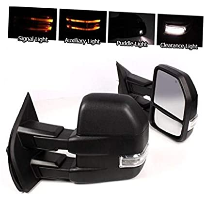 FOR 15-18 F150 POWER//HEATED LED SIGNAL 8 PIN BLACK//CHROME TOWING SIDE MIRRORS