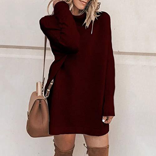 Maniche Natale Slim Maglia Lunghe Sciolto Abito Dress A Casual Donna Di Moda Inverno M Maglione Fcahnrtc Autunno Alto Xl Collo gq8nAf