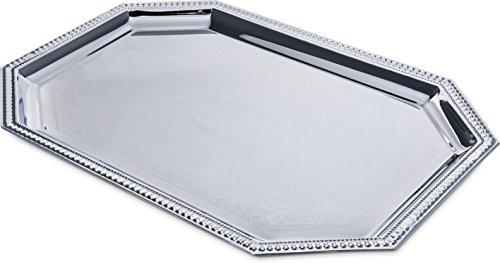 Carlisle 608902 Celebration Silver Finish Octagonal Serving Tray With Beaded Border, 20'' x 13.75'' (Pack of 12) by Carlisle