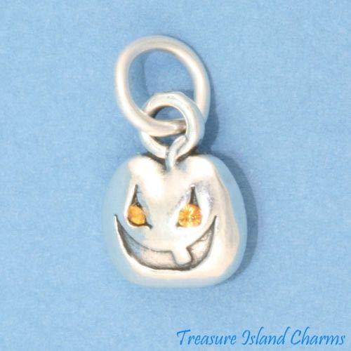 Halloween Pumpkin Jack-O-Lantern 925 Sterling Silver Charm with