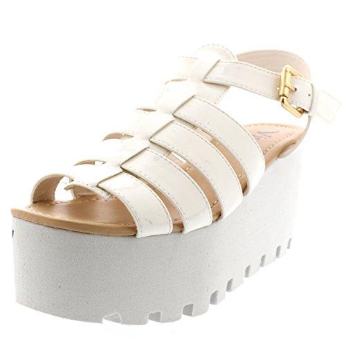 Viva Mujer Heeled Holograma Tiras Zapatos Festival Gladiador Cuña Sandalias Blanco Patente