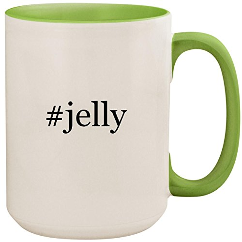 #jelly - 15oz Ceramic Colored Inside and Handle Coffee Mug Cup, Light Green ()