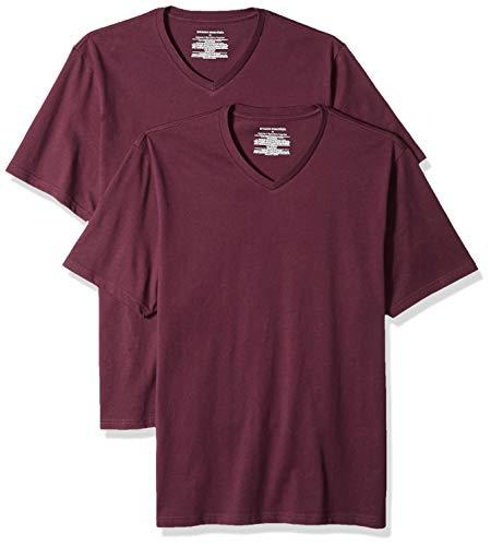 100% Cotton V-neck T-shirt - Amazon Essentials Men's 2-Pack Loose-fit V-Neck T-Shirt, Burgundy, X-Large