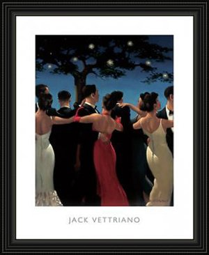 - Jack Vettriano Waltzers Framed in Black Wood Frame Poster Print Art Women and Man Dancing in Red Dress and White Dress