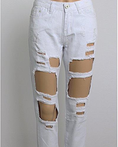 Jeans Denim Lunghezza Bianco Sciolto Donna Casual Pantaloni wFqIgXnaE