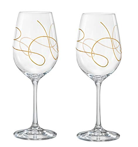 Wine - Goblet - Glasses - Glass is Lead Free Crystal - Set of 2 - with Gold String Design - by Barski - Made in Europe - 16 oz. ()
