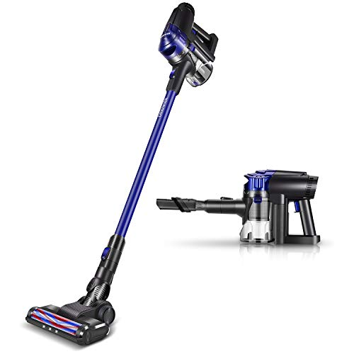 DEENKEE Cordless Vacuum Cleaner Stick and Handheld Vacuum with 17Kpa Powerful Suction & Wall-Mount,HEPA Filtration for Carpet Hard Floor Pet Hair Dust Cleaning (Dark Blue)