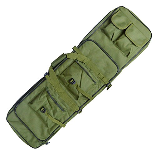Tactical Rifle Case, Military Rifle Storage Case, 38-Inch M4 Double Gun Bag Padded Adjustable Shoulder Strap Gun Bag, Integrated Pistol Airsoft Backpack for Hunting, Shooting, and Outdoor (Green)