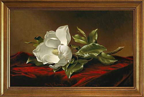 (Berkin Arts Classic Framed Martin Johnson Heade Giclee Canvas Print Paintings Poster Reproduction(Magnolia)