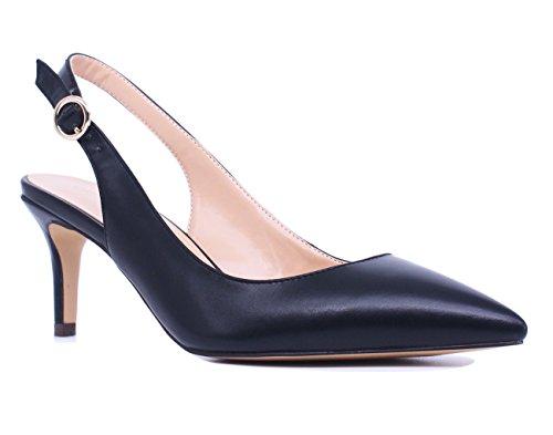 - SUNETEDANCE Women's Slingback Pumps Pointed Toe Kitten Heels Sandals Slip On Stiletto Mid Heels Shoes, PU Black, US9 B(M) US