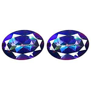 Deluxe Gems 1.88 ct Matching Pair Oval Cut (7 x 5 mm) Fancy Mystic Sea Child Topaz Natural Gemstone
