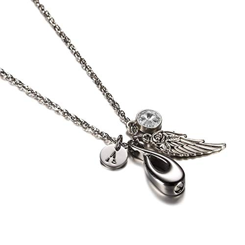 ANAZOZ Infinity Cremation Jewelry Urn Necklace for Ashes Stainless Steel Birthstone April Cubic Zirconia Angel Wing Initial T