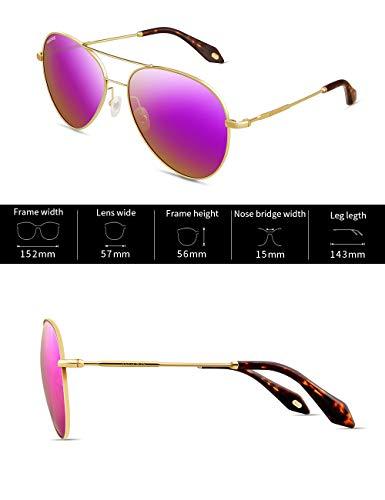 Soleil Femme Cadre Or Mode de VEGOOS Métal Aviateur Classique Miroir Polarisées Reflété Rose Lentille Lentilles Cadre Lunettes 3090 nf06nHYqZ