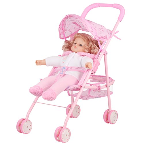 Irony Pink Doll Stroller Baby Carriage Foldable with 4 Wheels with Hood by Huang Cheng Toys (Image #2)