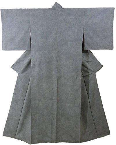 等しい適性ヒールリサイクル 着物 紬 波に色紙や霞模様 細かな亀甲 裄64cm 身丈158cm
