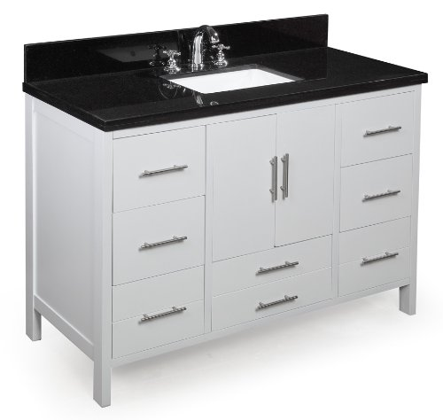 41dwYGl0CkL - Kitchen Bath Collection KBC039WTBK California Bathroom Vanity with Marble Countertop, Cabinet with Soft Close Function and Undermount Ceramic Sink, Black/White, 48""