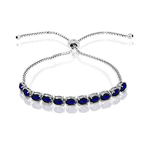 GemStar USA Sterling Silver Created Blue Sapphire 6x4mm Oval-Cut Adjustable Tennis Bracelet