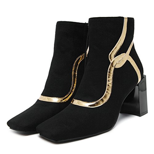 Aisun Damen Elegant Glitzer Dekor Blockabsatz High Heels Kurzschaft Stiefel Mit Reißverschluss Schwarz