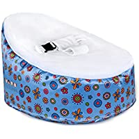 Totlings Snugglish Blossoms Velvet Top Baby Lounger, Blue with White