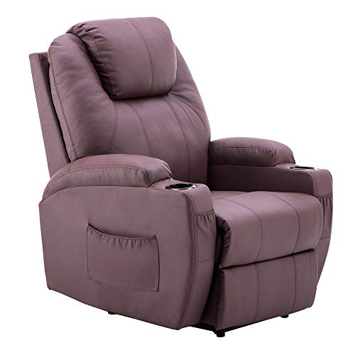 Power Recliner Massage Ergonomic Sofa Vibrating Heated Lounge Chair Faux Leather Dual Cup Holders 7050 (Light Brown)