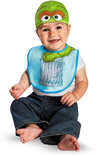 Sesame Street Elmo Oscar or Cookie Monster Bib and Hat Set for Infants (Oscar)