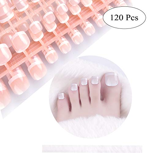 SIUSIO 240Pcs French Toe Nails Full Cover UV Top Coat Covered Short Press on Natural False Acrylic Nails Foot Art Tips Sets for Daily Use No Glue Included ()