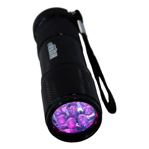HQRP Professional UV Detection Flashlight for Rodents Search 9 LED 365nm Wavelength 3 x AAA Battery plus HQRP UV Meter by HQRP (Image #1)