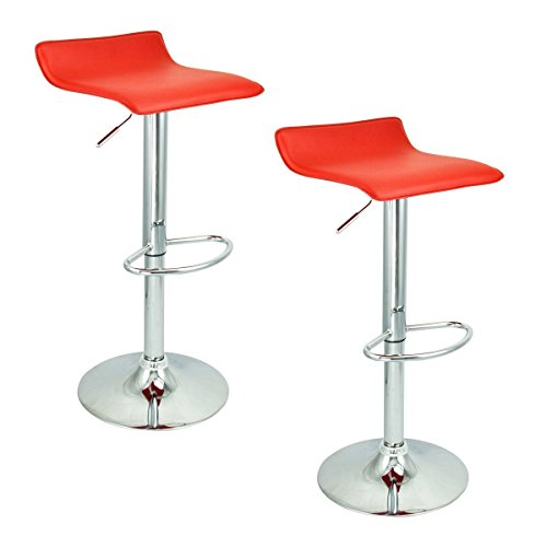 Apontus PU Leather Swivel Hydraulic Bar Stool, Set of 2, Red (Bar Stool Single Foot Ring)