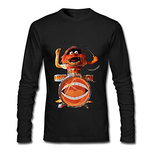 GODWARDWELL Digital Printing Animal Muppets Drummer GAGA Long Sleeve T Shirts for Mens&Womens Black Medium -Fashion in 2018