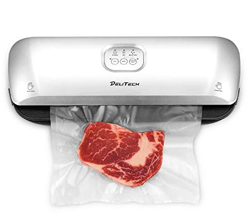 DELITECH Vacuum Sealer Machine with Bonus Handheld Sealer and Starter Kit, with Dry & Moist Mode 3-in-1 and Easy-to-clean Tray, Perfect for Sous Vide, Food Preparation, Food Preservation, for Kitchen & Home Use, 10 Free Bags