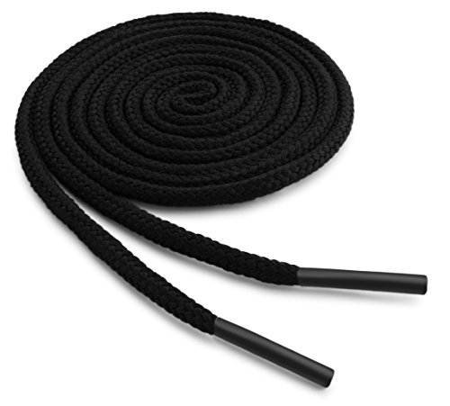 OrthoStep Round Dress Thin Black 30 inch Shoelaces 2 Pair Pack