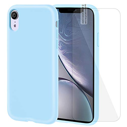 iPhone XR Case Silicone Case with Screen Protector Anti-Slip Shockproof Anti-Scratch iPhone XR Protective Case for iPhone XR 6.1