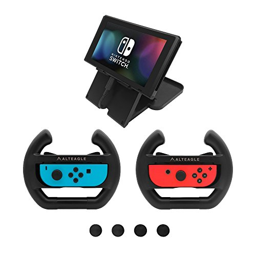 Price comparison product image Alteagle Joy-Con Steering Wheel Kit for Nintendo Switch Controller (Pack of 2) + Holding Stand and Thumb Grips