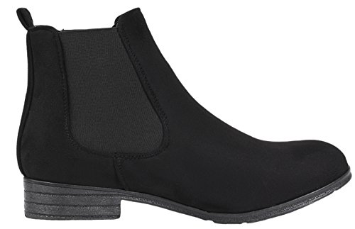 Lora Dora Womens Faux Leather Suede Flat Low Heel Gusset Chelsea Ankle Boots Ladies Girls Shoes Size UK 3-8 Black - Twin Gusset 9G99FxuO
