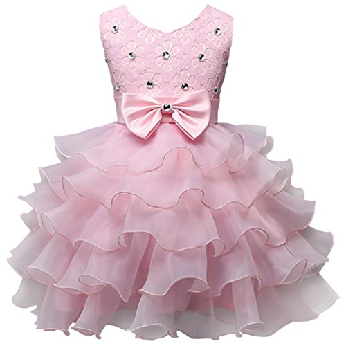 Csbks Girls Wedding Party Dress Pageant Baby Ruffles Tulle Princess Dresses 2T Pink -