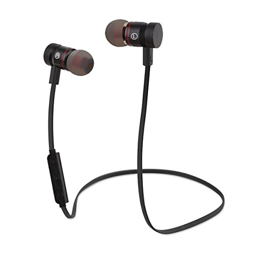 Bluetooth Earphones, HeQiao Magnetic Wireless Headset Sweat-Proof Earbuds HIFI Balanced Stereo Audio In-Ear Headphone for Sports Workout (Magnet-Adsorption, Noise-Canceling) (Black)