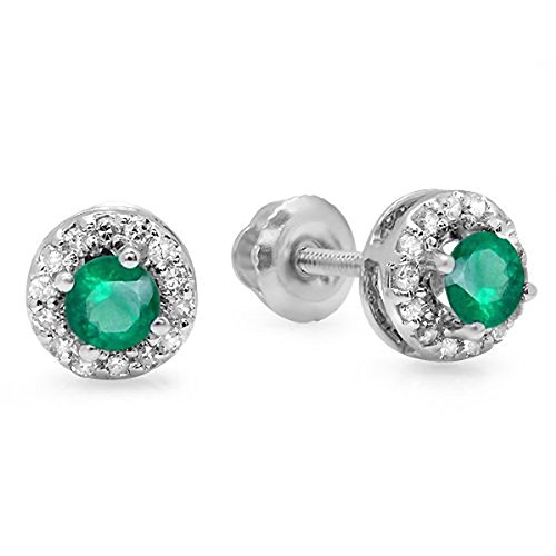 14K White Gold Round Green Emerald & White Diamond Halo Style Stud Earrings by DazzlingRock Collection