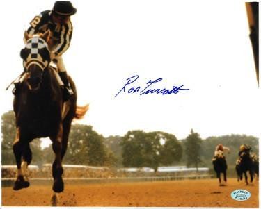 Ron Turcotte signed Secretariat 1973 Belmont Stakes Horse Racing Color 8X10 Photo (Looking Back) - Autographed...