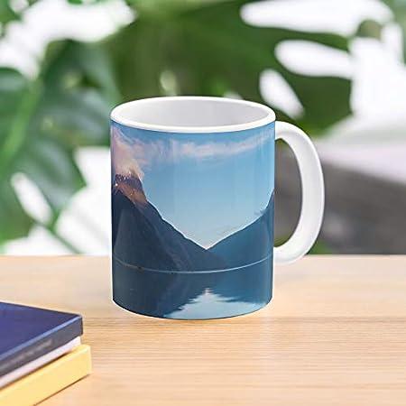 Nueva montaña sonido salvaje amanecer paisaje Zelanda vista mar mejor taza de café de cerámica personalizar