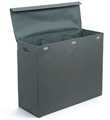 Three Compartment Laundry Hamper with Stiff Sides, Lid, and Metal Handles by Rhine House (With Laundry Plastic Basket Dividers)