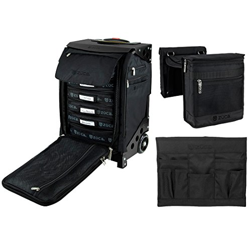 Zuca Flyer Artist Case (Black Frame) with 5 Utility Pouches and Stylist Kit: Beauty Caddy & Stylist Pouch Set by ZUCA
