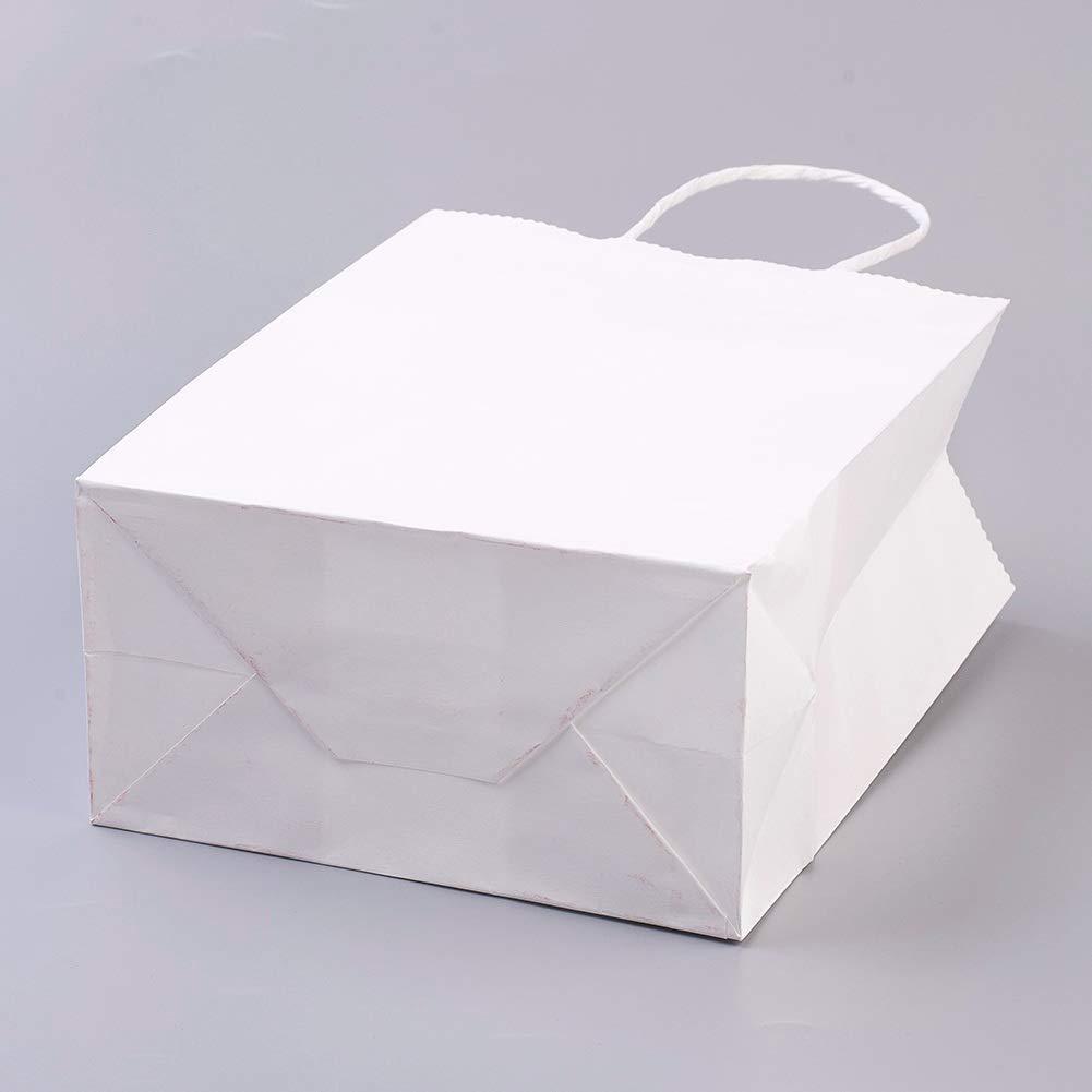 Rouge 21x15x8 cm nbeads Sac de faveur de Mariage 10 Sac en Papier avec poign/ée pour Sac de Cadeau de Mariage et Emballage de Cadeau
