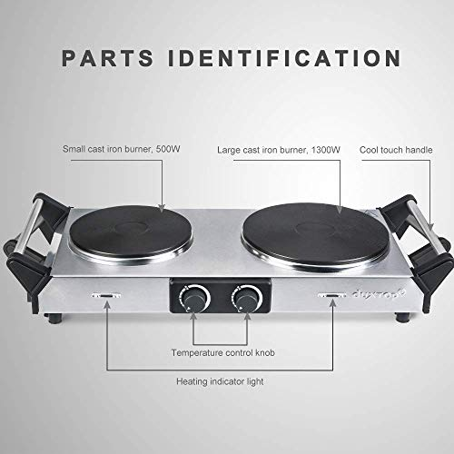Duxtop Hot Plate Double Cast-Iron Electric Burner Cooktop with Adjustable Temperature Control, 1800W, Metal Housing, Indicator Light(2 year warranty) by Duxtop (Image #2)