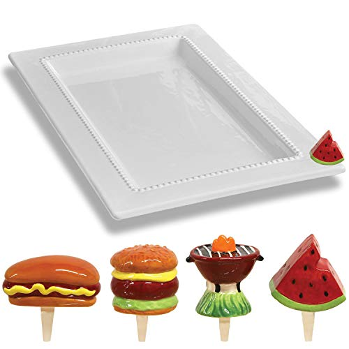 Ceramic Charmers Rectangle Platter Including Hand Painted 4 Piece BBQ Designs Charmers Decorative Accents Set