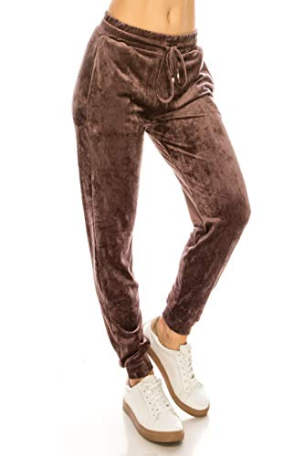 Womens Vintage Fleece Pants - ALWAYS Women Velvet Velour Joggers - Solid Basic Premium Soft Stretch Warm Winter Sweatpants Pants Vintage Violet L/XL